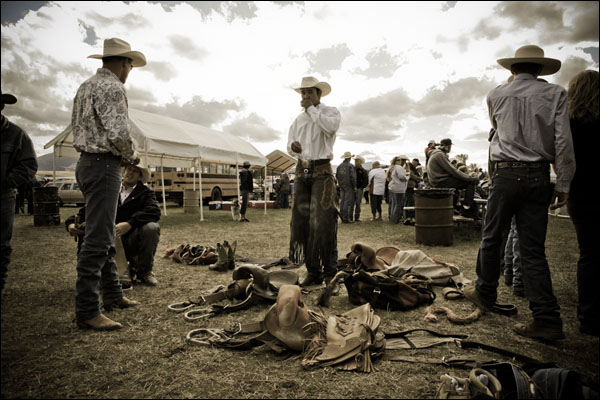 Helmville Rodeo Photography: Cowboys Getting Ready to Ride