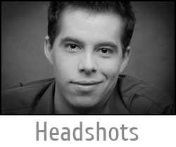 "Image button of classic black and white actor headshot with text ""Headshots"" and link to Headshot Photography page."