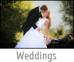 "Image button of a wedding couple kissing in beautiful light with text ""Wedding"" and link to wedding photography page."