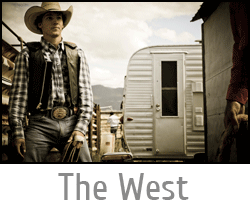 "Image button of a Cowboy getting ready to ride in a rodeo with text ""The West"" and link to Cowboys and Rodeo Photography page."