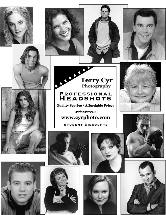 "Layout with many examples of different types of Business and Entertainment headshots. Text ""Terry Cyr Photography, Professional Headshots, Quality Services, Affordable Prices"""