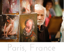 "Button with image of street painter in Paris looking out from behind his work with text ""Paris, France"" below and link to Paris Gallery."