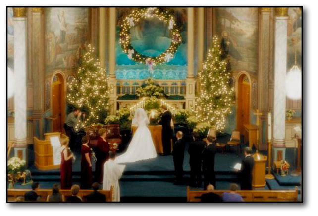 Ornate Christmas Wedding Ceremony in a large church wedding in Missoula Montana.