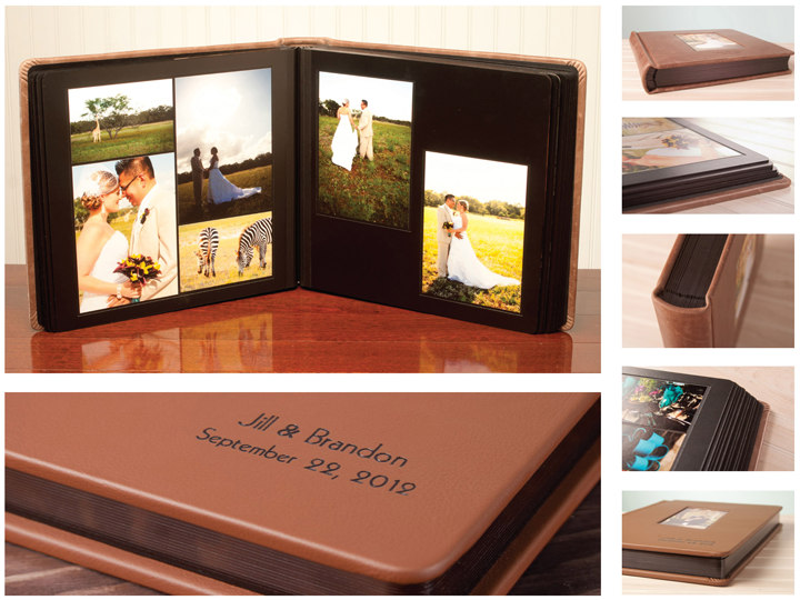 Multi image product details of hand crafted leather wedding albums for Terry J Cyr Photography, Missoula Montana.