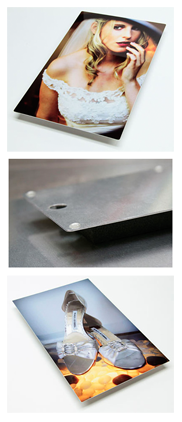 Details and examples of Metal High Gloss wall mount art prints.