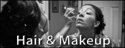 "Woman putting on makeup in the mirror getting ready for her wedding day.  ""Hair & Makeup"" button"