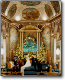 Wedding Photography of Christmas Wedding in ornate historic church in Missoula Montana.
