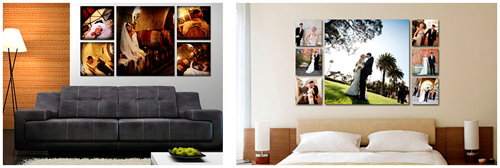 Product display of how printed images work as clusters on wall in various locations.