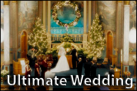 Ultimate Wedding Package. Couple at the alter in a big tradition church wedding at Christmas.